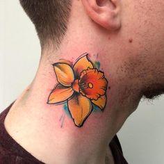 A symbol of life and renewal. Daffodil Tattoo, Life Symbol, Cool Tattoos For Guys, Tattoos With Meaning, Daffodils, Tattoo Artists, Watercolor Tattoo, Men, Daffodil Flower Tattoos