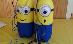 Planning a Despicable Me party? Make your own table decorations using 1.25ltr plastic drink bottles