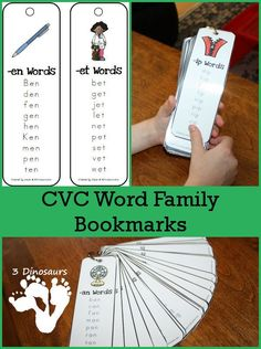 FREE Word Family Bookmarks and Printables