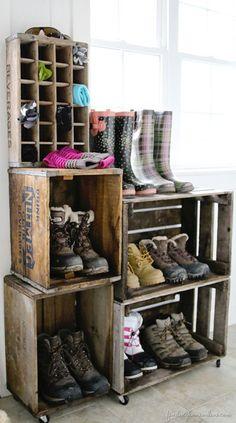 déco caisse bois rangement chaussure - Google Search