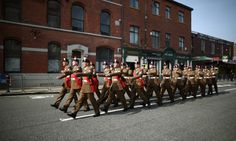Members of the Royal Regiment of Fusiliers march through the high street to the funeral of a Fusilier, Bury, 2013. Funeral Wear, Image Of The Day, Two Year Olds, 25 Years Old, British Army, Bury, Armed Forces, Good News, Daddy