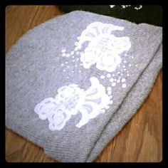 Home decorated winter hat Lace and crystals to add a decorative touch to a beautiful hat Accessories Hats