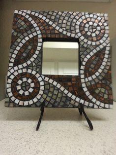 Copper Green and White Swirled Mosaic Mirror. $60.00, via Etsy.