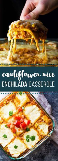 Cauliflower Rice Chicken Enchilada Casserole is an easy, healthy dinner recipe.This Cauliflower Rice Chicken Enchilada Casserole is an easy, healthy dinner recipe. Easy Healthy Dinners, Healthy Dinner Recipes, Mexican Food Recipes, Cooking Recipes, Cooking Rice, Cooking Games, Weeknight Dinners, Healthy Food, Chicken Enchilada Casserole