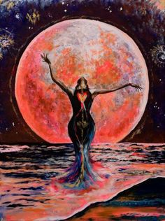 """""""Pink Moon Ocean Goddess"""" artwork by Isabel Bryna. A creative collaboration with Crystal Divine Goddess, Goddess Art, Moon Goddess, Moon Painting, Acrylic Painting Canvas, Art Visionnaire, Art Visage, Pink Moon, Sacred Feminine"""