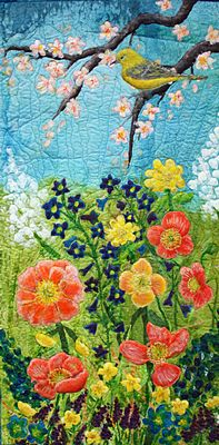 An original art quilt in beautiful hand painted silk. The luminous and rich colors are blue, peach yellow & green.  I hand painted the background silk fabric then hand painted the bird & flowers. These were then appliqued on. Intricate thread painting and hand embroidery were used to enhance the details. http://www.etsy.com/listing/64808543/applique-art-quilt-hand-painted-silk