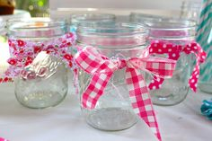 I decorated mason jars with different pretty strips of fabric from Children at Play's Playhouse line, one for each momma so that everyone knew which glass was theirs and there was no confusion...don't you hate when that happens.