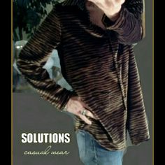 """SOLUTIONS Casual Wear - Tiger Print Velour Top  RETIRED FOR SUMMER - JUST ASK IF INTERESTED  SOLUTIONS CASUAL WEAR SIZE L This is made of soft and smooth tiger like print velour. Button down , collar and long sleeves Pit to Pit measurement 22"""" Arm pit to end of sleeve 17"""" Some stretch. SOLUTIONS Casual Wear Tops Button Down Shirts"""