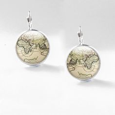 Europe and Africa Map glass earrings, Photo jewellery, drop picture earrings, dangles, large drops,  distressed vintage map large earrings