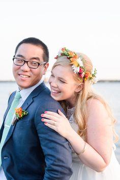 Bright and fun flower crown | Sarah & Ben http://southernweddings.com/2016/07/26/florida-citrus-wedding-by-sarah-and-ben/