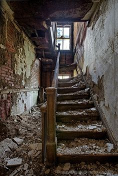 Abandoned Bank - Matthew Christophers Abandoned America.... a lot of hard working people went up and down those stairs.