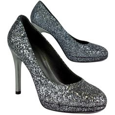 Pre-owned Stuart Weitzman- Grey Glitter Pumps Sz 6 ($139) ❤ liked on Polyvore featuring shoes, pumps, round toe platform pumps, glitter platform pumps, leather sole shoes, low heel platform pumps and grey platform pumps