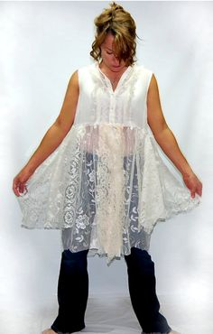 Tattered Shabby Chic Lace Boho Hippie Button Down Blouse from persnickedee