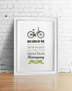 Das Leben ist wie Fahrrad fahren | von farbflut bei DaWanda