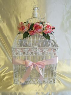 Birdcage Wedding Card Holder / Wedding Card Box / Glam / Pink / Shabby Chic Decor. Via Etsy.