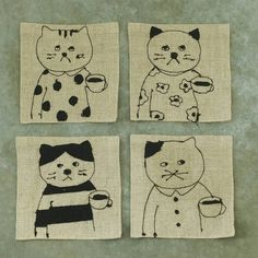 Tuesday, Wednesday, Thursday, Friday - and this week, Saturday is a paid vacation day! Sewing Machine Embroidery, Girl In Water, Kawaii Cat, Japanese Artists, Cat Design, Pilgrim, Make You Smile, Neko, Hand Sewing