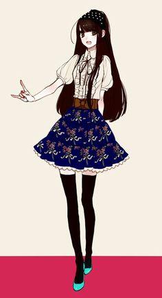 Black and white female anime/manga character, wearing a black ...