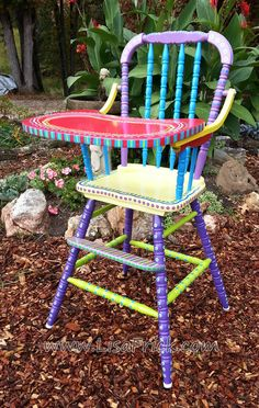 SOLD- Antique Hand Painted Colorful High Chair on Etsy, €112,62