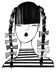 """""""Ribbon Girl"""" by Emily Eldridge; marker on paper"""