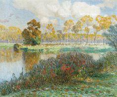 Emile Claus (Belgian, 1849-1924), Lys bend in the sun (Leiebocht in de zon)