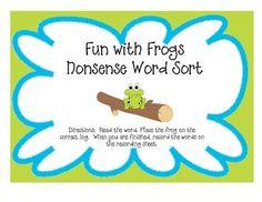 FREEBIE!!! Nonsense/Real word sort for DIBELS Nonsense Word fluency.