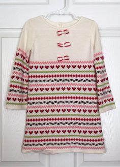 Girl's JANIE & JACK Gingerbread Spice White Pink Knit Sweater Dress 2 2T Holiday #JanieandJack #SweaterDress #HolidayEverydayParty