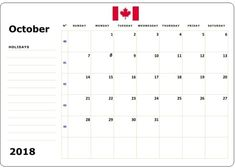 October 2018 Calendar with Holidays: We are bringing here blank templates in Portrait and Landscape format. Check printable calendar templates and holidays Free Printable Calendar Templates, 2018 Printable Calendar, Excel Calendar, Calendar Worksheets, Printable Worksheets, Printables, 2018 Holiday Calendar, October Calendar, Canada Calendar