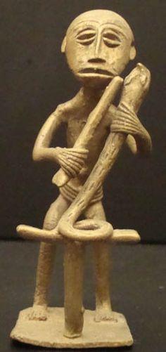 Ashanti Figure Holding A Snake #620 | Goldweight Figures | Metal — Deco Art Africa - Decorative African Art - Ethnic Tribal Art - Art Deco