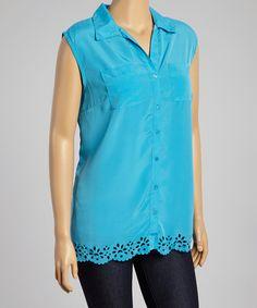 Look what I found on #zulily! Teal Scallop Hem Sleeveless Button-Up - Plus #zulilyfinds $11.99