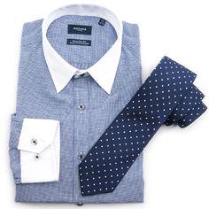 Camisa de cuello contrastado Rochas, corbata de seda Alessandro Ferrari.