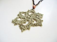 Crochet necklacelong beaded necklace brown beige pendant by AlkistiKnits