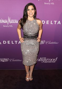 America Ferrera in Pamella Roland attends The Hollywood Reporter's Annual Oscar Nominees Night Party. #bestdressed