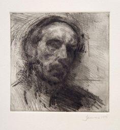 Martin Yeoman - Self Portrait, dry point John Singer Sargent, Drypoint Etching, Etching Prints, Jackson's Art, Portrait Sketches, Oil Painters, Selfies, Art Club, Figure Painting