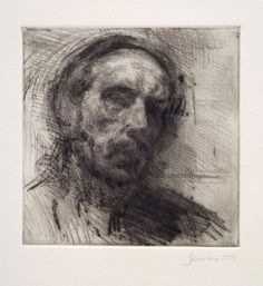Martin Yeoman - Self Portrait, 1995, dry point