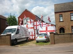 A house near the Kings Dyke Level Crossing in Whittlesey, ready for the start of World Cup World Cup 2014, House, Home, Homes, Houses