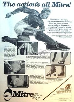 Denis Law endorses this 1964 advert for Mitre football boots.