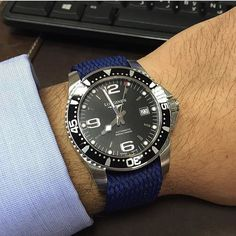 Thanks to @hamadshaheen for this picture of our blue 22mm strap on his Longines Hydroconquest. Beautiful watch! Appreciate the picture Hamad  #whatchs  Get the strap from www.whatchs.com by whatchsdotcom