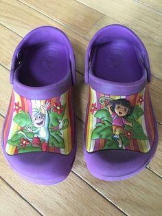 Crocs Girls Dora Multistripe Dahlia Purple Shoes Size Childrens 10 11 | eBay