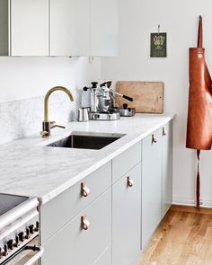 my scandinavian home: My Summer Cottage Kitchen Renovation: Floorplan and Design - mint and leather kitchen New Kitchen, Kitchen Dining, Kitchen Decor, Kitchen Cabinets, Bathroom Cabinetry, Kitchen Ideas, Green Cabinets, Kitchen Backsplash, Backsplash Ideas