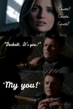 """Castle? Castle. Castle."" ""Beckett? It's you! My you!"" Season 7 episode 6  'The Time Of Our Lives'  #caskett #castletvshow #rickcastle #katebeckett #cute"