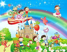 Cartoon Wall, Cartoon Posters, Art Wall Kids, Art For Kids, Crafts For Kids, School Murals, Art School, Kids Reading Books, Kids Vector
