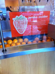 Jamba Juice is placing nicely-designed QR codes on its in-store signage to not only increase its email database, but also encourage consumers to receive exclusive offers and discounts by becoming an insider.