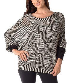 Look what I found on #zulily! Black & White Dolman Sweater by Diva Designs #zulilyfinds
