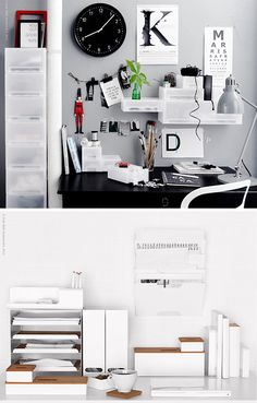 Typography ideas for an office wall: large monogram, eye chart that spells a message. Could DIY these.