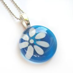 Hand painted flower glass pendant  azure  by azurine on Etsy, $25.00