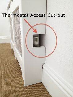 Cut-out thermostat access on radiator cover from Amber Hallway Decorating, House, Home Thermostat, Interior, Diy Furniture, Radiator Cover, Home Remodeling, Home Deco, Home Diy