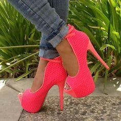 Pink cut out mesh peep toe