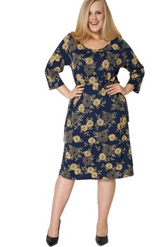 Ladies Womens Navy & Yellow Belted Drawstring Waist 3/4 Sleeves Plus Size Dress