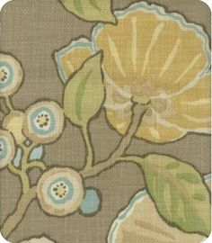 Hip Brown Blue Green Yellow Natural Floral Print Fabric  This is the fabric that's on the pillow I pinned.  You could add this to the drapes.