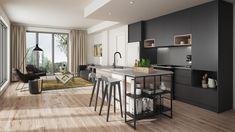 Les cuisines à aire ouverte de MYX condos sont modernes Condos, Condominium, Architecture, Table, Furniture, Home Decor, Open Concept Kitchen, Modern, Spaces